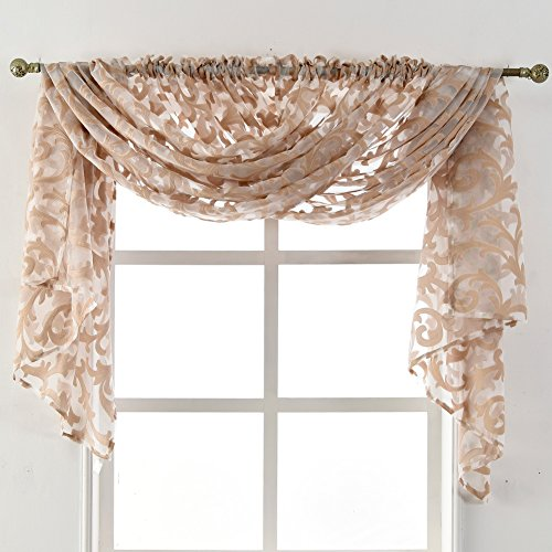 NAPEARL European Style Jacquard Sheer Curtain Panel Organza Fabric, Window Scarf, Beaded Valance, Sold Separately (2 Panels: Each 52