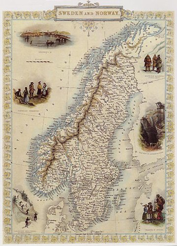 1800's Sweden And Norway Stockholm Map Large Vintage Poster