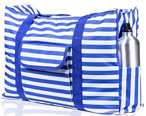 Beach Bag XXL. 100% Waterproof (IP64). L22 xH15 xW6 w Ribbon Handles (Padded Grip), Top Zip, Three Outside Pockets. Blue Stripes Beach Tote Includes Phone Case, Built-In Key Holder, Bottle Opener ()