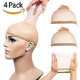 4 Pack Wig Caps Elastic Mesh Open End Wig Net Hairnet Snood Hair Wig Weaving Cap Netural Nude Beige