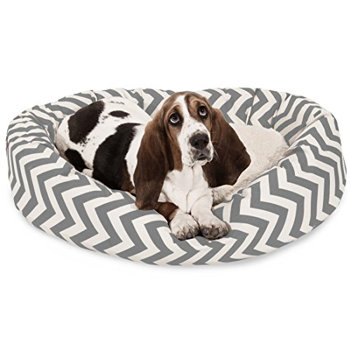 32 inch Grey Chevron Sherpa Bagel Dog Bed