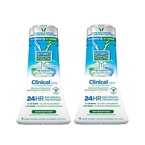 SmartMouth Clinical DDS Oral Rinse for the Treatment of Bad Breath and Protection From Gingivitis and Gum Disease, 16 oz, 2 pack