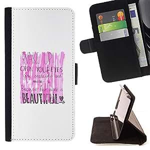 For Sony Xperia Z3 Compact / Z3 Mini (Not Z3) Case , Rosa Blanco Hermoso Lipstick texto despertador- la tarjeta de Crédito Slots PU Funda de cuero Monedero caso cubierta de piel