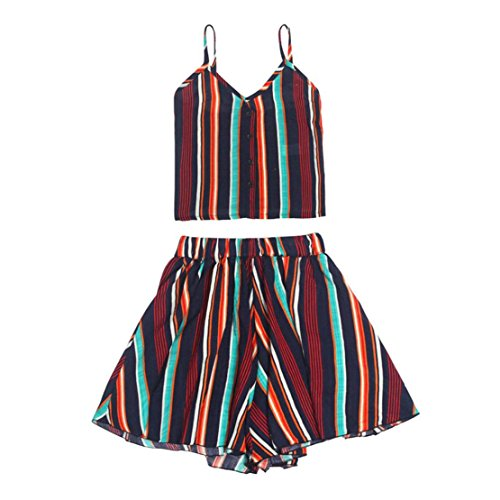 DongDong Sexy Women Striped Shirt Sleeveless Vest Blouse + Shorts Two-Piece Outfit