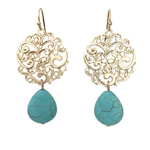 Natural Stone Teardrop Gold Tone Filigree Disk Dangle Earrings (Imitation Turquoise) -