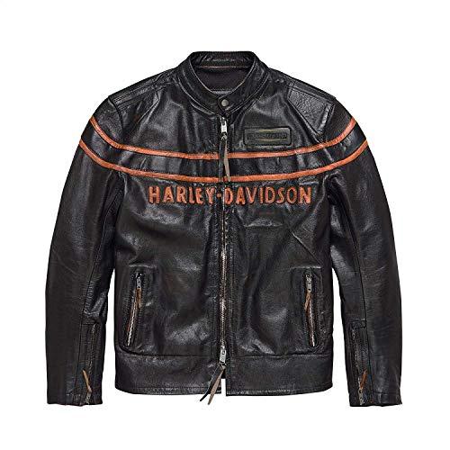 - Harley-Davidson Official Men's Double Ton Slim Fit Leather Jacket, Black (X-Large)