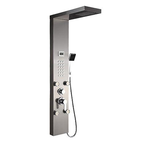Auralum Columna de Hidromasaje Ducha Moderna 3 Función Acero Inoxidable con Pantalla LCD para Baño