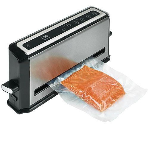 Complete Vacuum Sealing System is the Ultimate Food Fresh Saver 2-in-1 with Moist/Dry Setting Automatic with Bonus Built-in Retractable Handheld Sealer & Starter Kit, Stainless Steel Finish