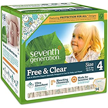 Seventh Generation Free and Clear Baby Diapers, Stage 4, 54 Count