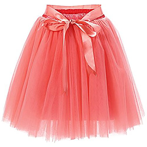 Women's High Waist Princess Tulle Skirt Adult Dance Petticoat A-line Wedding Party Tutu(Watermelon red) (Bridal Chiffon Skirt)