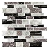 STICKGOO Marble Look Peel and Stick Tile Backsplash, Kitchen Backsplash Peel and Stick, Decorative Self Adhesive Backsplash Tiles in Granite (Pack of 10, Thicker Design)