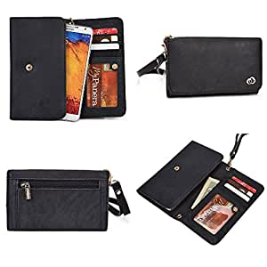 HTC Desire 816 Wallet Wristlet Clutch With Hand Strap and Credit Card Slots  Genuine Leather: Salte Black
