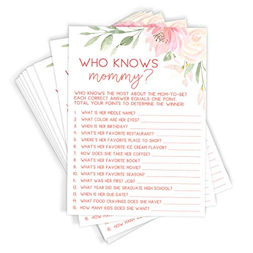 Who Knows Mommy Shower Game | Set of 50 Cards | Floral Baby Shower Game and Activity | Fun, Unique, and Easy to Play -