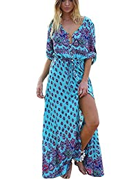Greenis Summer Women Dress Bohemia Beach Maxi Dress V Neck