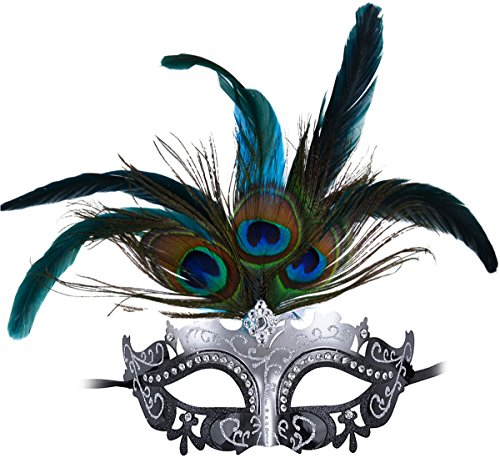 Masquerade Princess Rhinestone Peacock Feathers