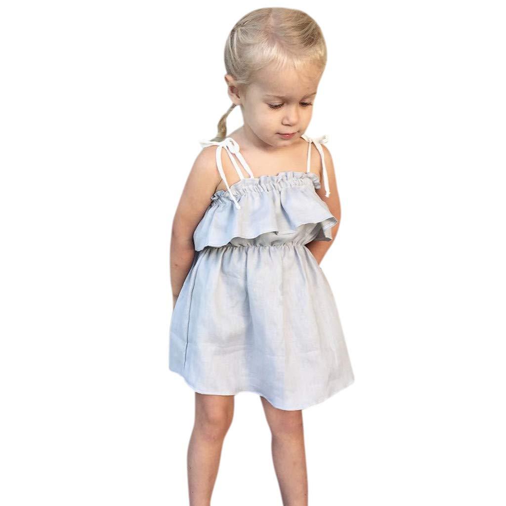 Girl Dress Toddler Kids Baby Short Sleeve Ruffles Spaghetti Strap Princess Swing Tull Dresses