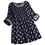 Ladies Long Sleeve Polka Dot Printed Loose Blouse Women Plus Size Cotton and Linen Pullover Button Tops Shirt
