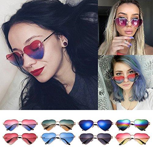 la mode Miroir métal Réfléchissant UV400 de Soleil en pêche 4 Rétro mioim Lunettes en de femme coeur forme wFqaXZ