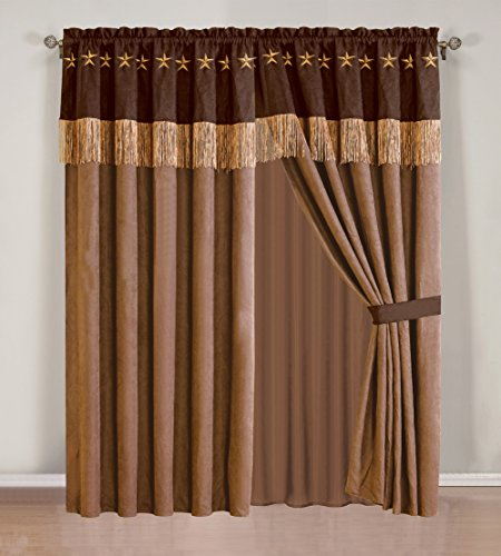 4 Piece WESTERN Lodge – Taupe / Brown Embroidered Lone Star Barbed Wire Curtain Set with attached Valance and Sheers