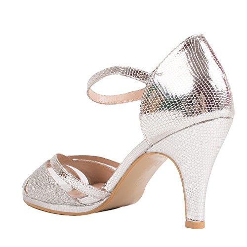 Chaussures Mariage Femme Argentées Forme Sandales Pailletées à Petit Talon & Bout Ouvert- Argent R3OnY