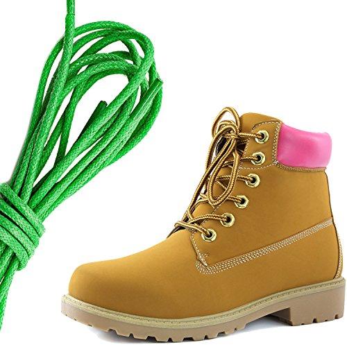 Dailyshoes Da Donna Con Allacciatura Alla Caviglia, Collo Alto Imbottito Da Lavoro, Stivali Rigidi Con Punta Verde, Rosa Marrone Chiaro