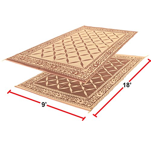 EasyGO Products Rv Camping Mats - 9'X 18' Large Outdoor Patio Mat - Reversible Rv Mat - Floor Mat