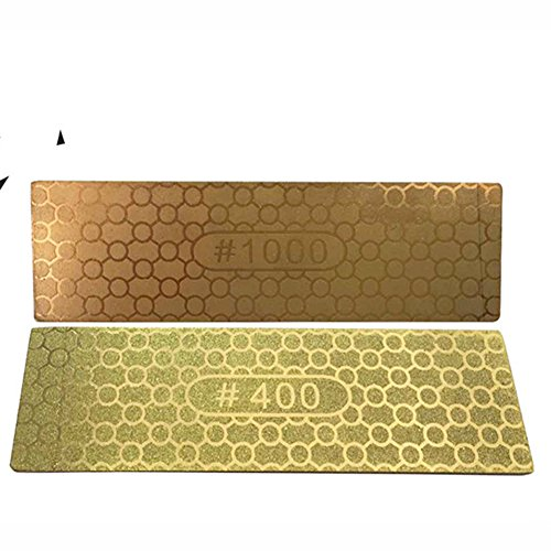 Leoie Kitchen Gold Color Mesh Honeycomb Knife Sharpener Corundum Whetstone Lightweight Plate Grindstone 400/1000#