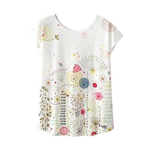 ZEFOTIM ✿ Women Tees Fashion Loose Casual Summer Blouse Print T-Shirt Short Sleeve Tops(G-White,X-Large)