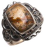 StarGems(tm) Natural Picture Jasper Handmade Unique 925 Sterling Silver Ring, US size 10