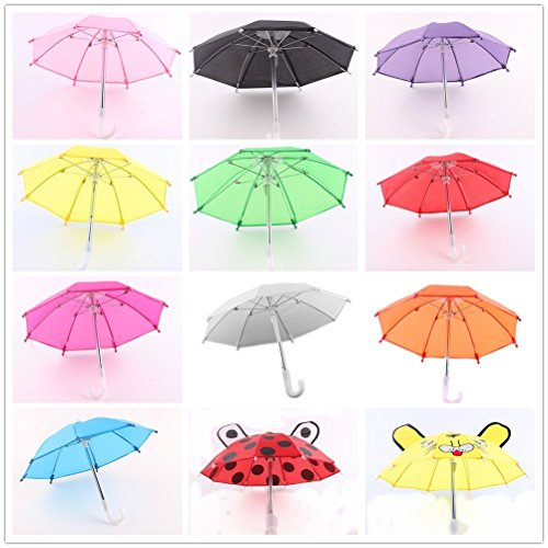 ZITA ELEMENT Doll Accessories - 2pcs Outdoor Umbrella Fits American 18 inch Girl Doll, My Life Doll, Other 45-46cm Dolls Xmas Gift- Various Ramdon Style ()