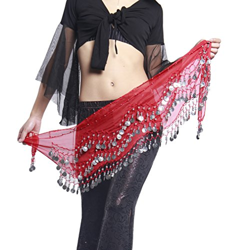 UPRIVER GALLERY Women's Chiffon Ringing Sounds Metal Coins Deco Hip (Red Silver Hip Scarf)
