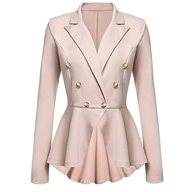 281424dda10f Deloito Damen Mode Langarm Blazer Rüschen Schößchen Taste Beiläufig Jacke  Mantel V-Ausschnitt Outwear (