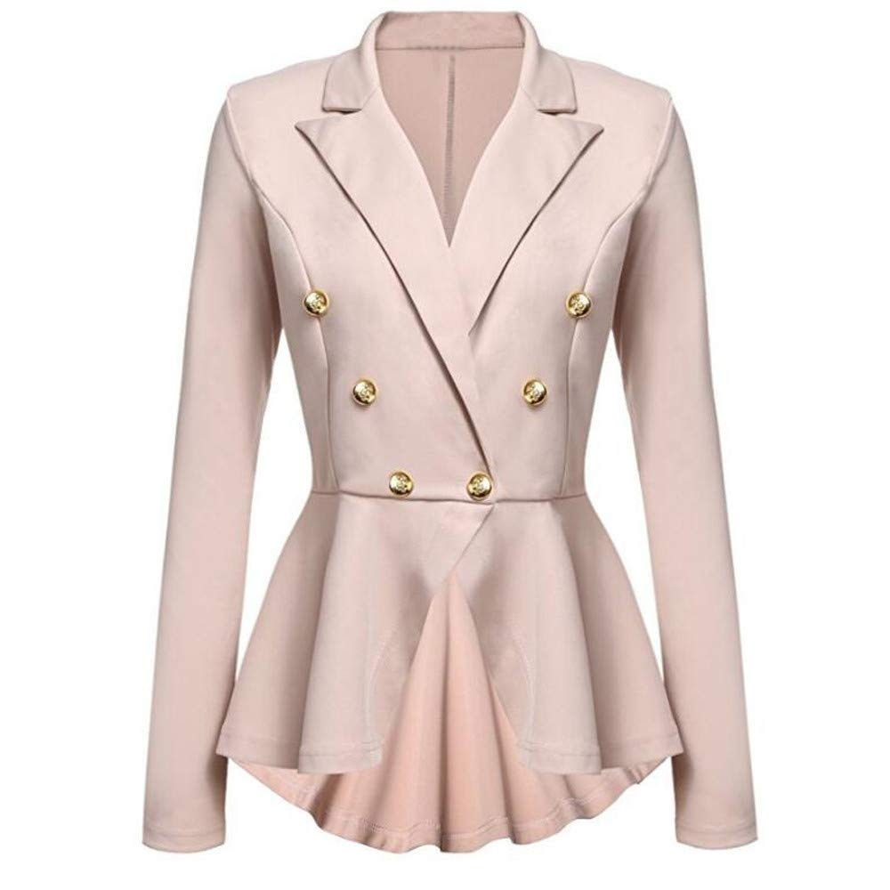 UONQD Women Long Sleeve Blazer Ruffles Peplum Button Casual Jacket Coat Outwear(Small,Khaki)