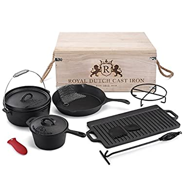 Royal Dutch Cast Iron 1815 - 11 Piece Cook Box Set with Large Skillet, Sauce Pot and Vintage Carrying Storage Box -Premium Cast Iron Cookware