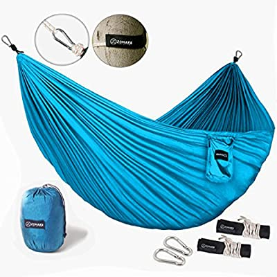 ZOMAKE Portable Hammock - Lightweight pure Color nylon fabric Parachute Hammock for outdoor Camping, Hiking,Travel, Hammock Straps & Steel Carabiners include