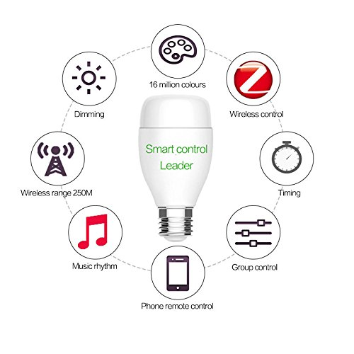 Smart Wireless Lampadina, ELEGIANT 6W 6500K Bluetooth 4.0 LED lampadina, Nightlight Playbulb Controllo Senza Fili, Regolabile 16 Milioni Colore Disponibile, Smart Bulb con Free APP Wireless Control, S