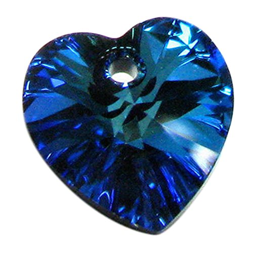1 pc Swarovski Xilion Crystal 6228 Heart Charm Pendant Bermuda Blue 18mm / Findings / Crystallized Element - 18mm 1 Charm