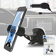 iTALKonline Sony Ericsson LT28H Xperia ion Black Multi-Directional Dashboard / Windscreen, Case Compatible Clip On Suction Mount In Car Holder with 1000 mAh MicroUSB In Car Charger