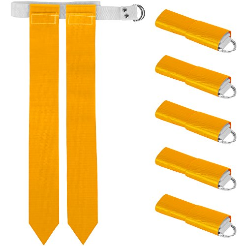 6-Pack Flag Football Team Set – Includes 6 Belts with 12 Flags, Accessories for Flag & Touch Games, Practices, & Training by Crown Sporting Goods (6, Yellow) (Nylon Deluxe Flag Kit)