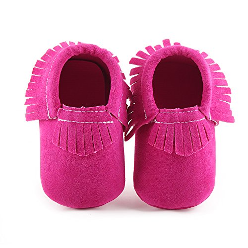 Delebao Unisex Baby Soft Sole Tassels Crib Shoes Moccasins Loafers (Pink Moccasin)