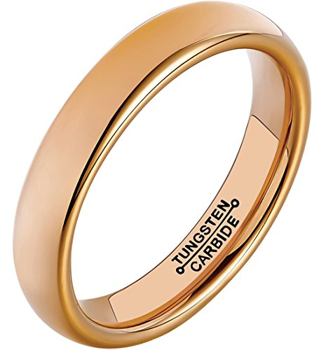 Gold High Polished Domed Ring (HSG Tungsten Rings Women Wedding Men Rose Gold Plated 4mm High Polished Domed Comfort Fit Band)