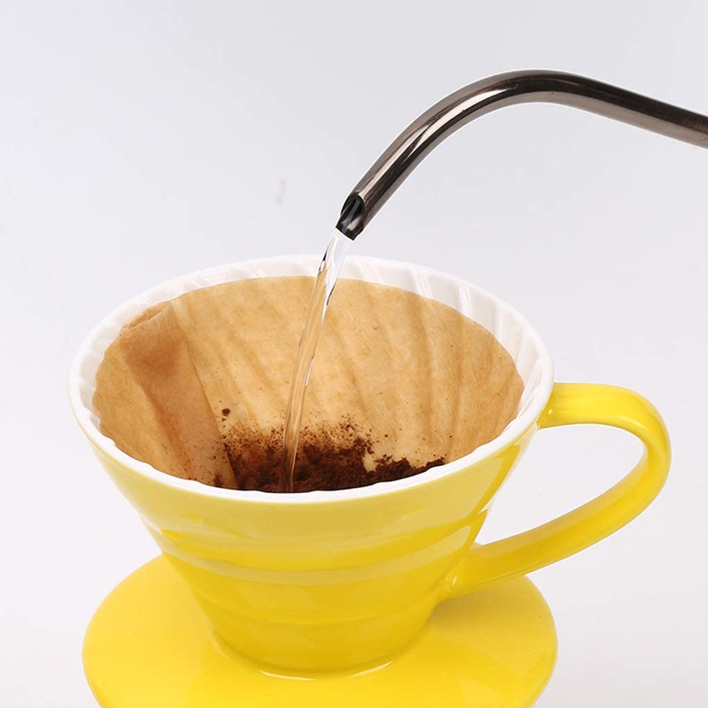 AmzElenxs Elenxs 2 Boxes V60 Drip Machine Unbleached Wooden Paper Coffee Disposable Filters Conical 1-2 Serving