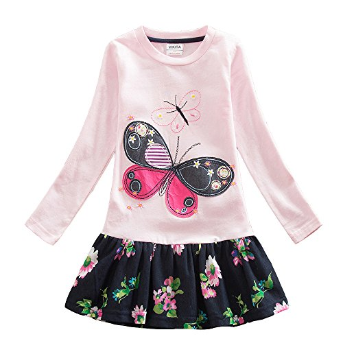 2017 NEW VIKITA Girls Embroidery Cotton Long Sleeve Flower Dresses LH5460 For 1-8 Years ¡­