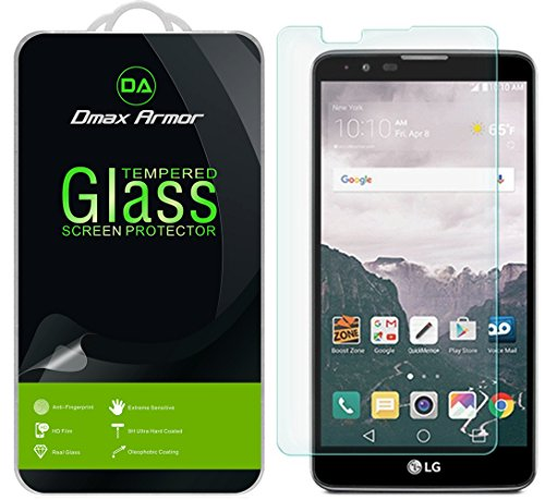 Dmax Armor [2-Pack] for LG Stylo 2 Screen Protector, [Tempered Glass] 0.3mm 9H Hardness, Anti-Scratch, Anti-Fingerprint, Bubble Free, Ultra-clear