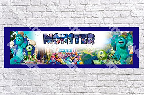 Personalized / Customized Monster University Inc Name Poster with Border Mat- Home Wall Decor Birthday Party Door Banner