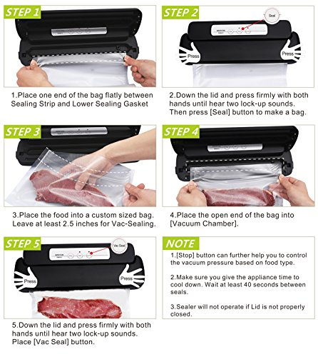 GERYON Vacuum Sealer Automatic Food Sealer Machine with Starter Bags
