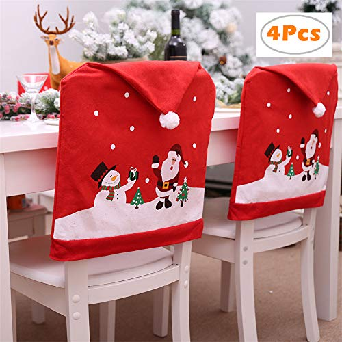 Christmas Santa Claus Chair Cover Snowman Dinner Table Party Decor Christmas Dining Slipcovers Kitchen Chair Covers Decoration for Holiday Party Festival(60×49cm) -