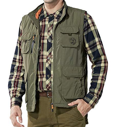 (Flygo Men's Utility Outdoor Multi Pockets Fishing Photo Journalist Sports Vest (X-Small, Fleece Lined Army Green))