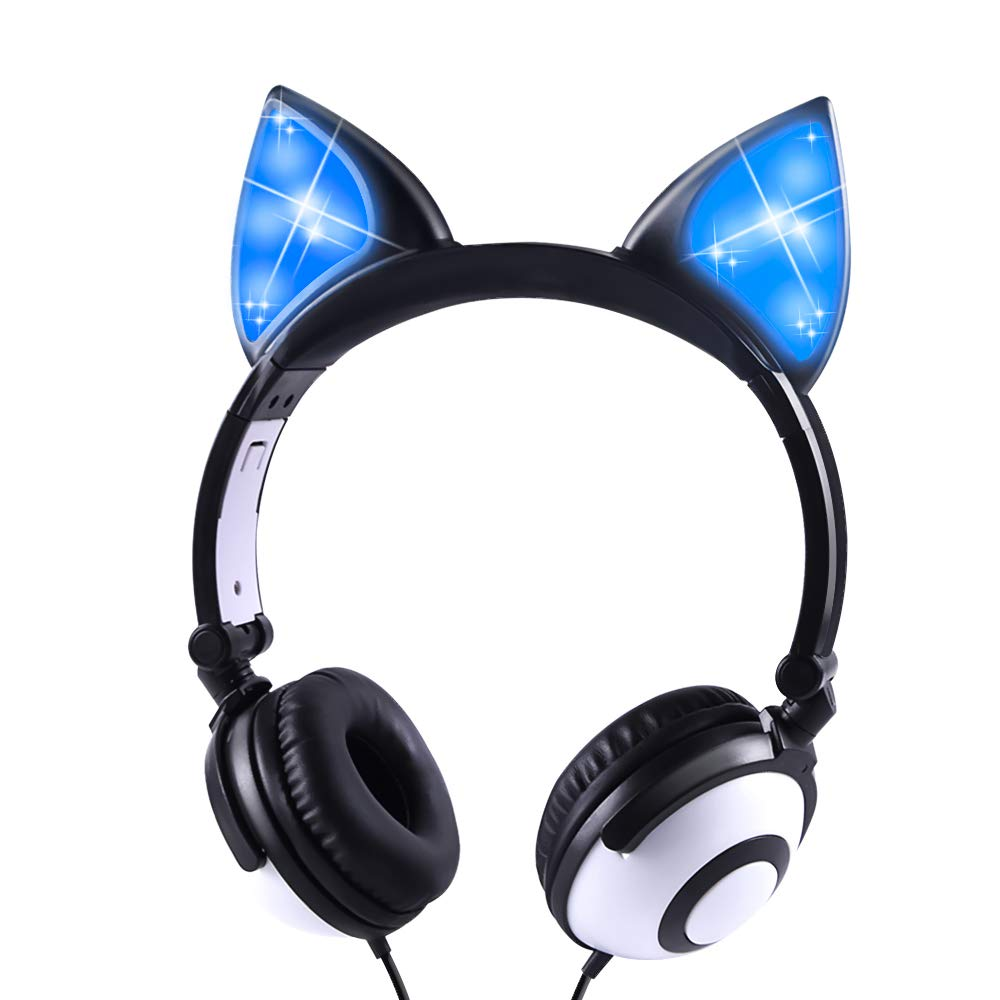 Auriculares Kids Con Cable LED Glowing Plegable Ajustable Over-Ear Safe 85dB Volume Limited Cat Ear para Kindle/iPad/Chi
