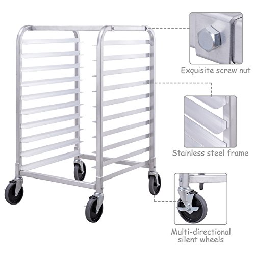 Giantex 10 Tier Aluminum Bakery Rack Home Commercial Kitchen Bun Pan Sheet Rack Mobile Sheet Pan Racking Trolley Storage Cooling Rack w/Lockable Casters by Giantex (Image #2)